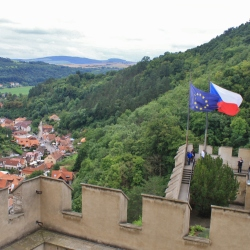 The EU and Czech Flags Flying at the Hrad Karlstejn